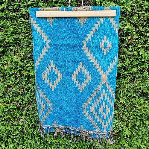 Blue Aztec Blanket Scarf