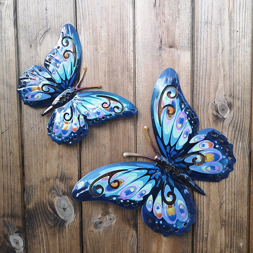 Blue Butterfly Metal Wall Plaque