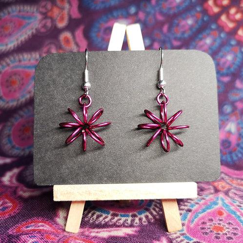 Dark Pink Flower Earrings