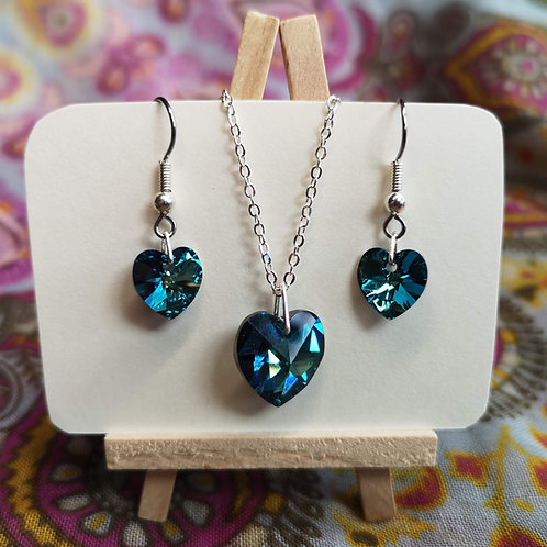 'Bermuda Blue' Swarovski Heart Jewellery Set