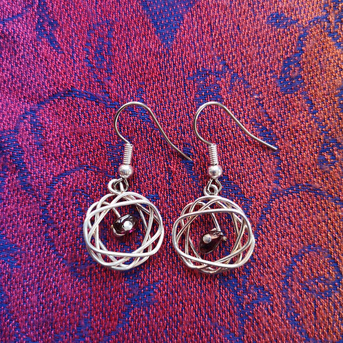 Scorpio Garnet Squiggle Earrings