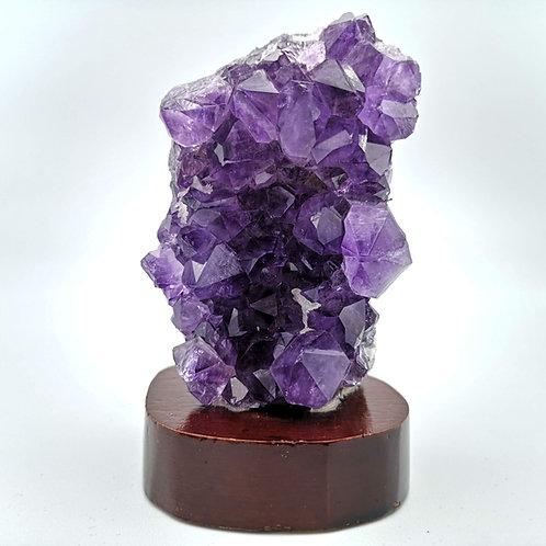 Amethyst Crystal Cluster on Wooden Base