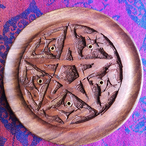 Pentagram Wooden Incense Holder