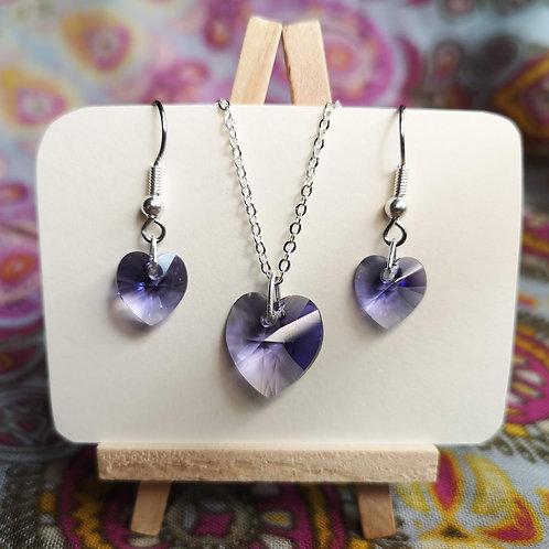 'Tanzanite' Swarovski Heart Jewellery Set