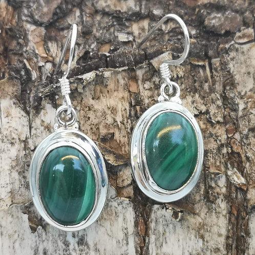 Silver Malachite Earrings