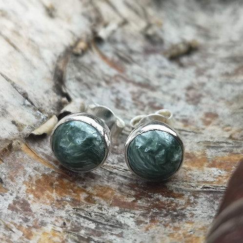 Silver Seraphinite Stud Earrings