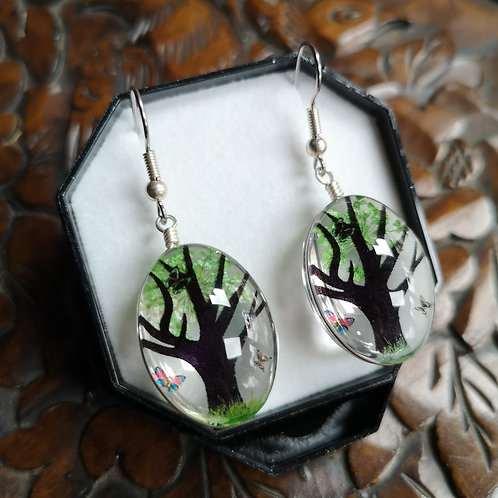 Green Blossom Tree Earrings