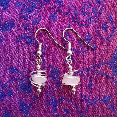 Libra Rose Quartz Spiral Earrings
