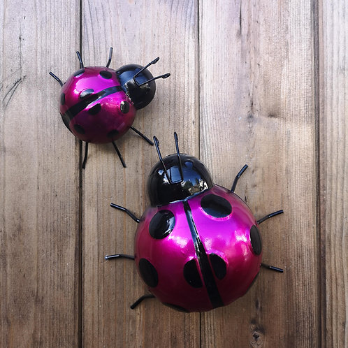 Pink Metal Ladybirds