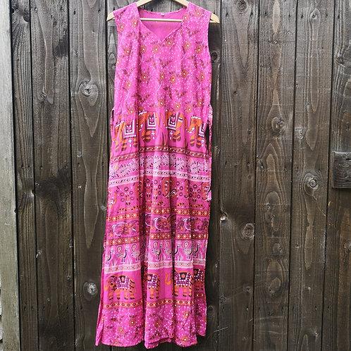 Peacock & Elephant Print Dress