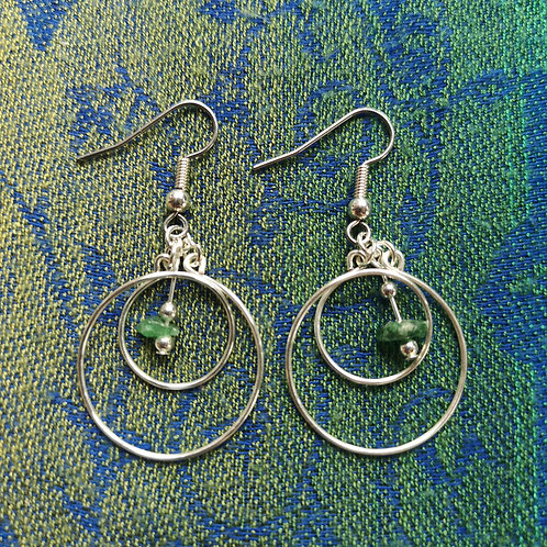 Cancer Green Aventurine Circles Earrings