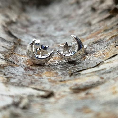 Moon and Star Stud Earrings