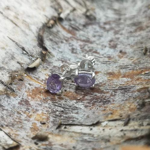 Silver Amethyst Stud Earrings