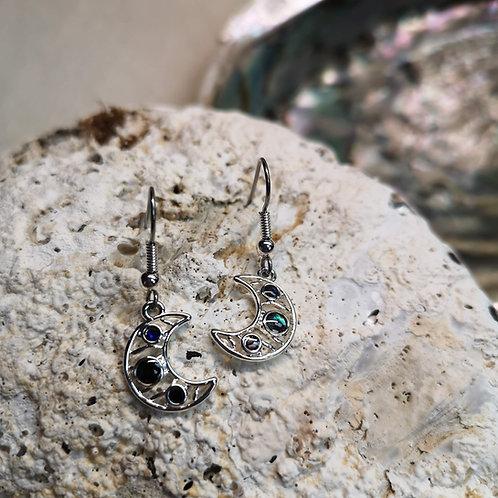 Paua Shell Moon Earrings