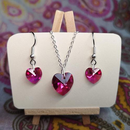 'Fuchsia Pink' Swarovski Heart Jewellery Set