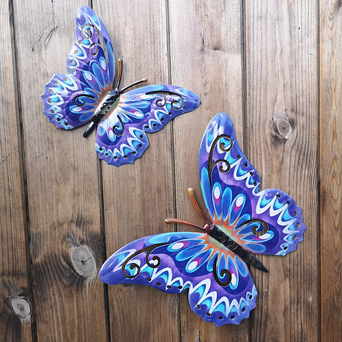 Purple Butterfly Metal Wall Plaque