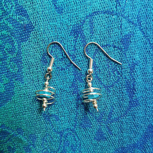 Pisces Turquoise Spiral Earrings