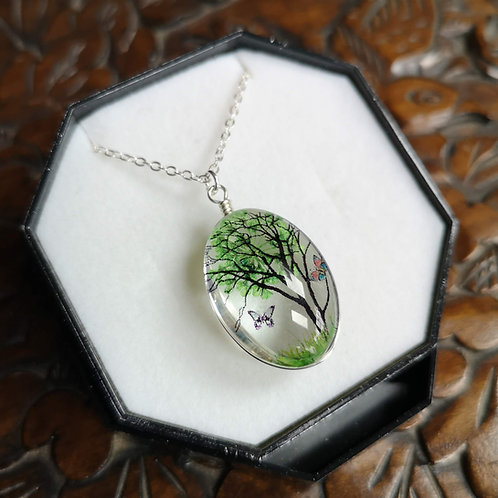 Green Blossom Tree Pendant Small