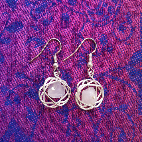 Libra Rose Quartz Squiggle Earrings