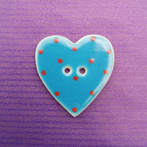 Blue Ceramic Heart Button