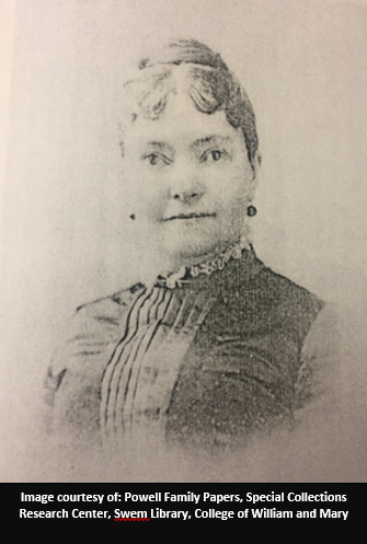 Rebecca Powell.  Image is courtesy of the Powell Family Papers, Special Collections Research Center, Swem Library, College of William and Mary