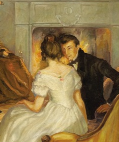 """Courtship Scene in the Parlour"" by the German artist Spassmacher in 1862"