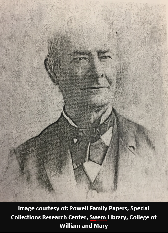 Charles Powell.  Image is courtesy of the Powell Family Papers, Special Collections Research Center, Swem Library, College of William and Mary