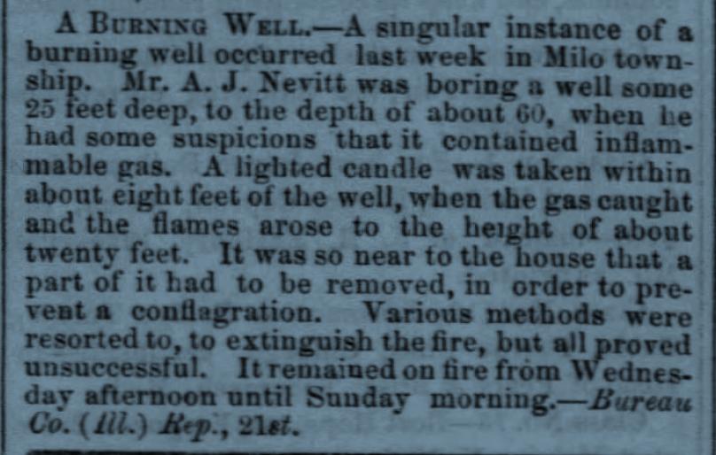 Burning Well, Chicago Tribune, September 24, 1859