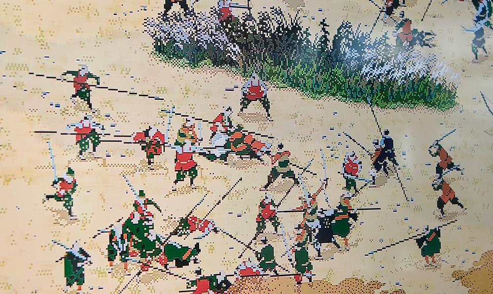 I samurai si affrontano nella battaglia di Sekigahara in un'installazione di pixel art animata