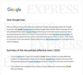 E-mail enviado pela Google