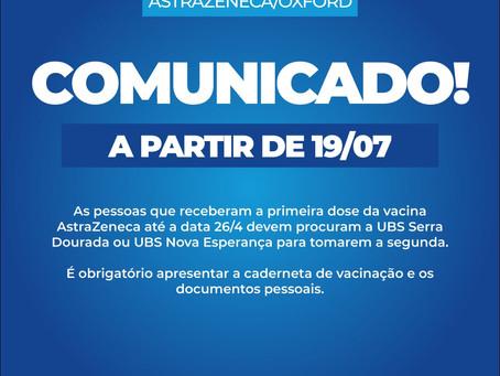 Prefeitura convoca para tomar a 2ª dose da vacina AstraZeneca, confira