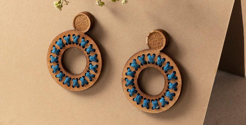 Handmade Indigo Thread Woven Earring