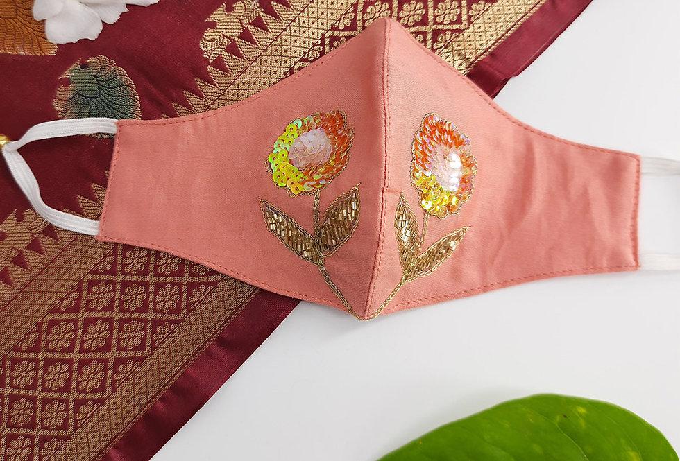 Peach Festive Hand Embroidery Mask