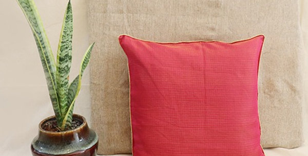 Handmade Solid Pink Kota Festive CushionCover