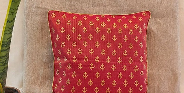 Handblock Printed Red Kota Festive Cushion Cover