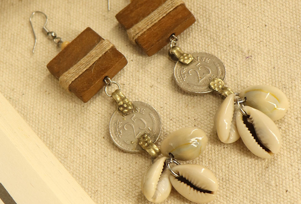 Wood and coin earring