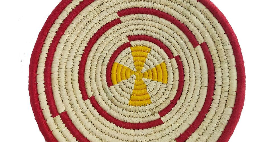 12' Natural, Yellow and Maroon Spiral Handmade Wall Decor of Sabai Grass