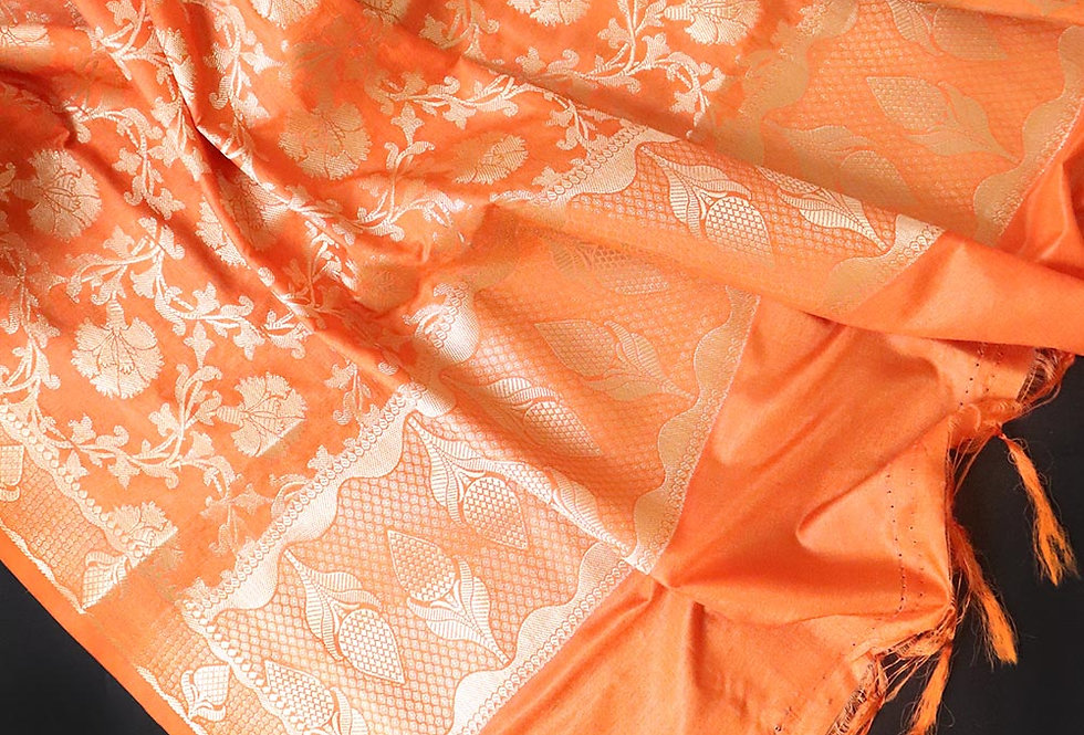 Orange Pure Katan Banarasi Dupatta