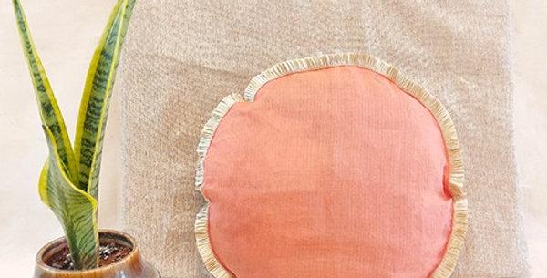 Handmade Solid Peach Kota Festive Cushion Cover