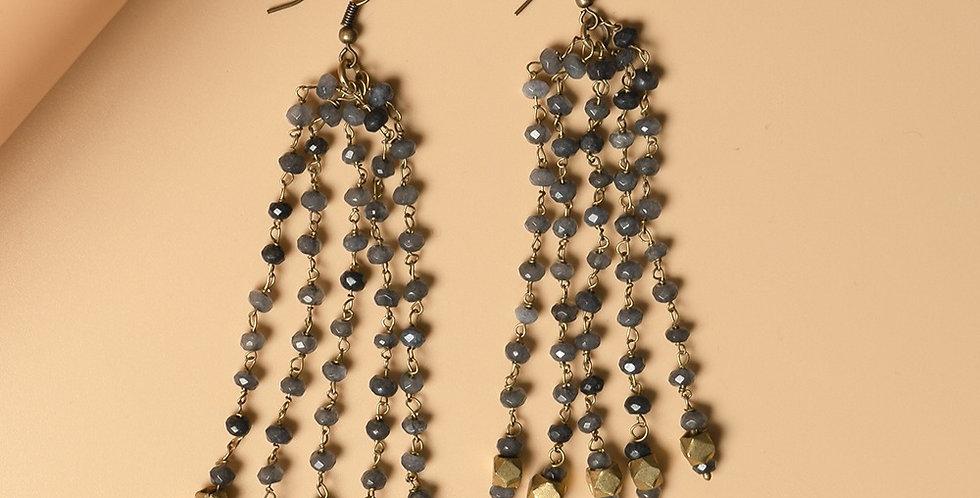 Grey Genuine Semiprecious Gemstone and Dokra Brass Earring