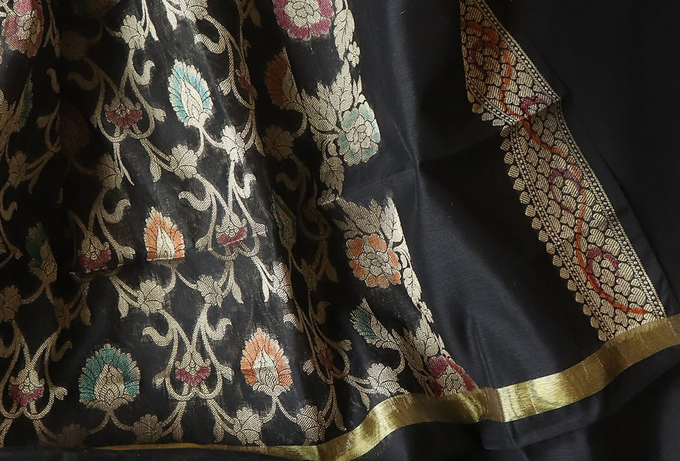 Black Handpainted Pure Katan Banarasi Dupatta