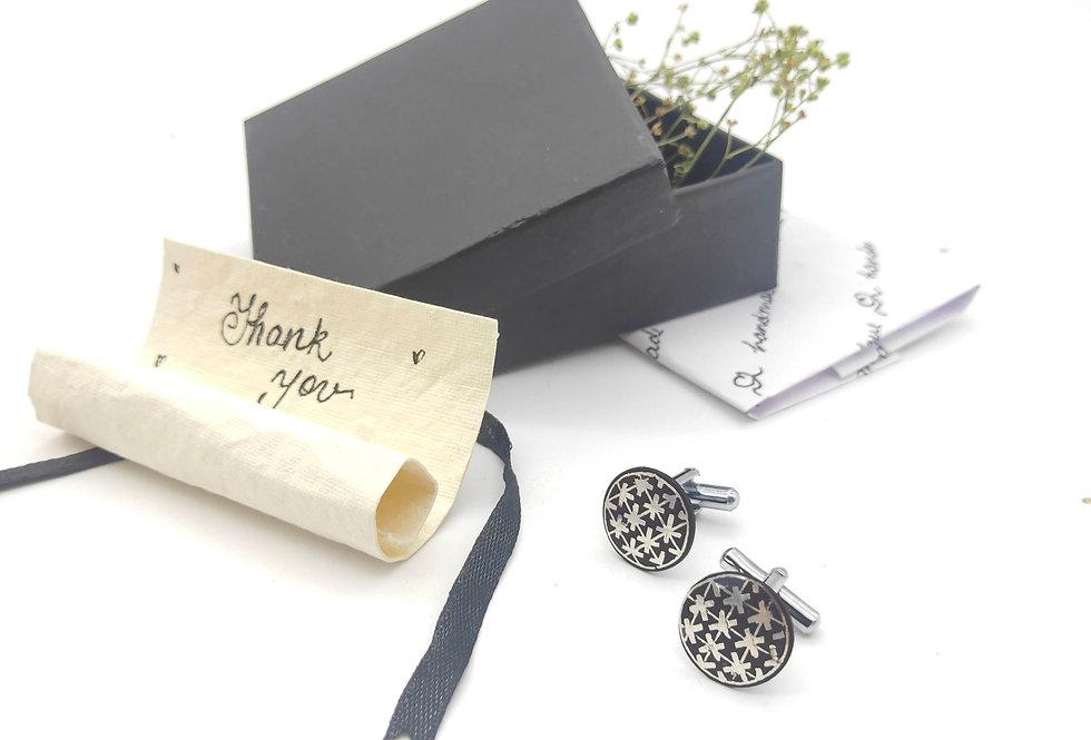Handmade Bidri Pure Silver Inlay Round Cuff Links
