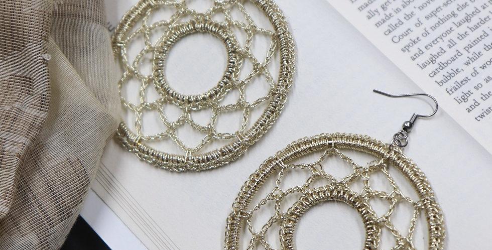 Handmade Golden Round Crochet Earring