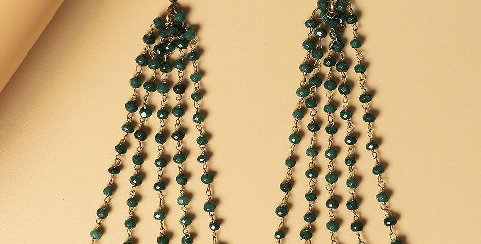 Emerald Green Genuine Semiprecious Gemstone and Dokra Brass Earring