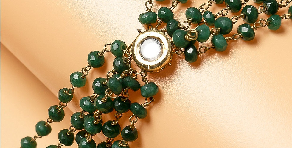 Green Genuine Semiprecious Gemstone Lariat Necklace