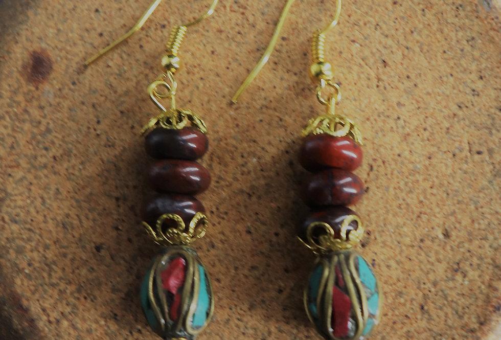 Genuine gemstone jasper earring