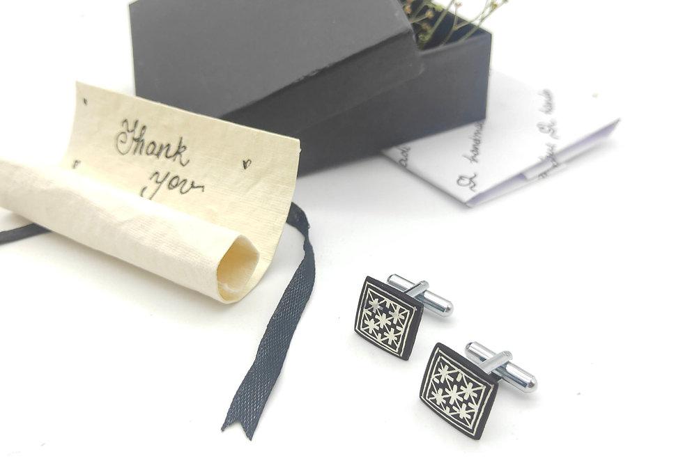 Handmade Bidri Pure Silver Inlay Square Cuff Links