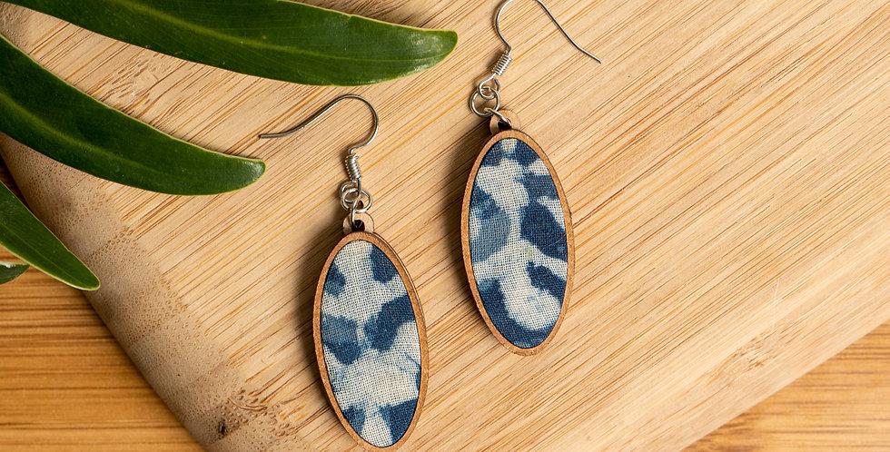 Oval Blue Fabric Earring
