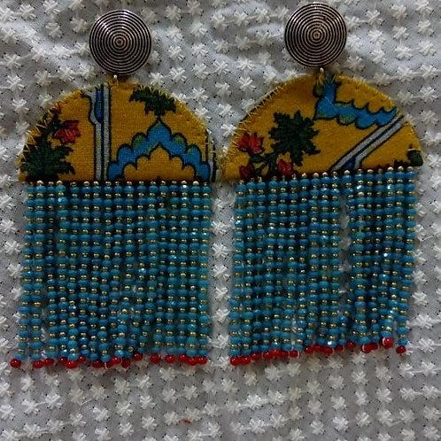 Fabric beaded tassle earring
