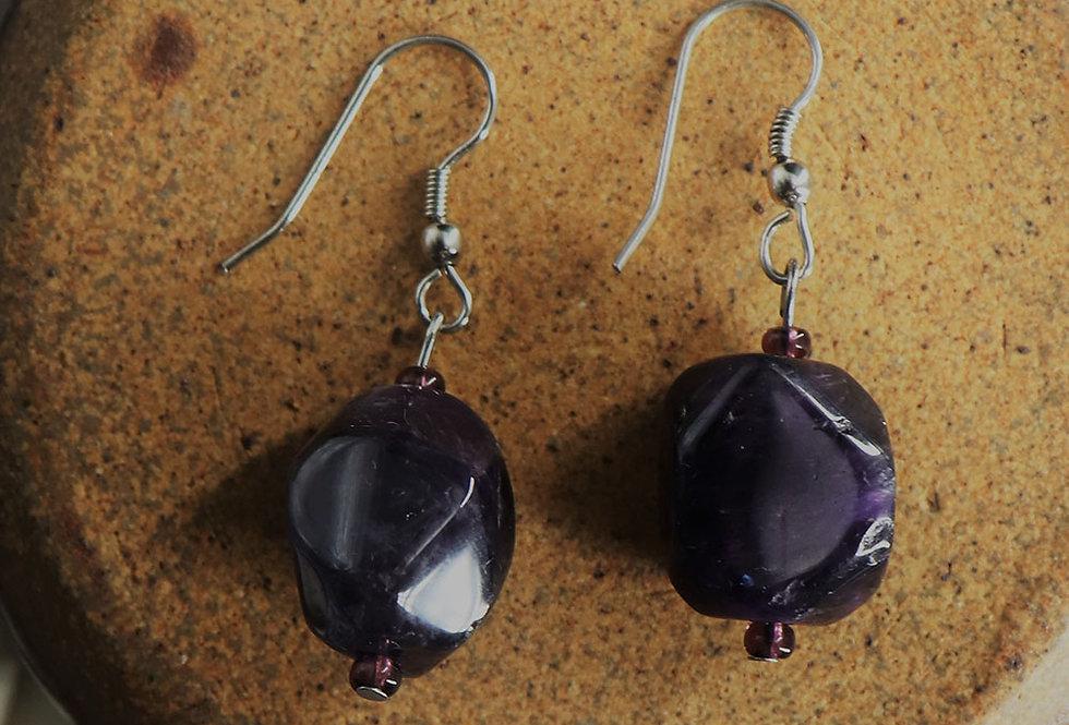 Genuine gemstone amethyst earring